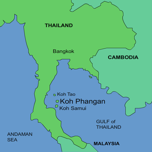 Koh Phangan Thailand Map.Location